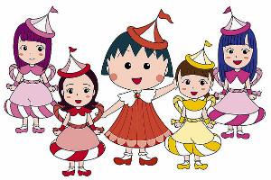ももいろクローバーZとコラボしたアニメ「ちびまる子ちゃん」(c)さくらプロダクション/日本アニメーション
