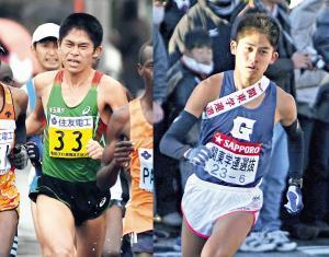 箱根駅伝を走り(右)社会人でも活躍する川内優輝は、男子マラソンのレベル底上げに箱根がつながっていると指摘する