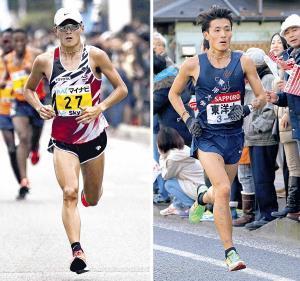服部勇馬は東洋大での箱根出場経験(右)が実業団での「マラソンに生きている」と語った