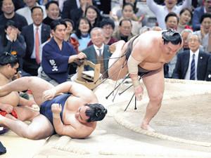 鶴竜(左)を下手投げで破り、42度目の優勝を決めた白鵬