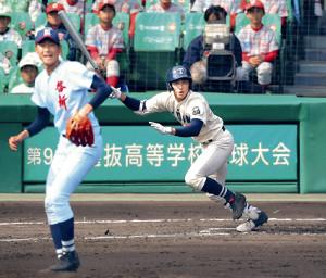 1回2死、左越えに二塁打を放つ桐蔭学園・森(啓新の投手・安積=カメラ・谷口 健二)