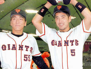 松井秀喜(左)と清原和博