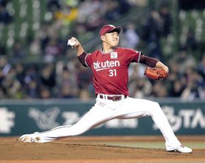 西武打線相手に力投、移籍後初勝利を挙げた福井(カメラ・佐々木 清勝)