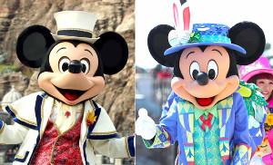 どこがどう変わったかは見る人や角度によって違う? TDSの新しいショー「Tip―Top イースター」に登場したミッキーマウス(右)(左は2018年、TDSクリスマスイベントでのミッキー)