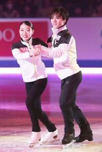 エキシビション・日本チームの演技で、だんご3兄弟の歌に乗せてタンゴを踊る紀平と宇野昌磨