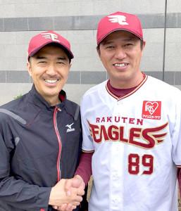 応援ソング「Go For Eagles」をプロデュースしたDEEN・池森秀一(左)と平石監督