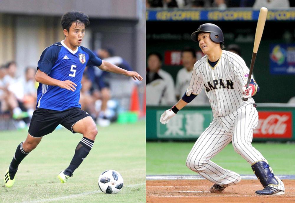 サッカー・久保(左)と野球・坂本