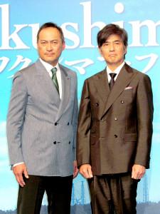 会見した渡辺謙(左)と佐藤浩市