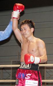 世界前哨戦でKO勝利をおさめた久田