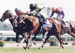97年の天皇賞・春を鋭い末脚で制したマヤノトップガン(手前)
