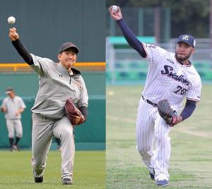 先発の巨人・菅野(左)とヤクルト・スアレス