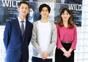 主演舞台の公開稽古を行った(左から)斉藤直樹、中島裕翔、太田緑ロランス