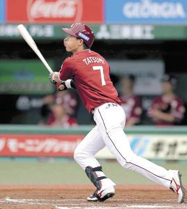 3回2死、辰己が中越えにプロ初本塁打を放つ(カメラ・宮崎 亮太)