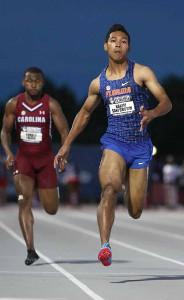大学南東地区選手権100メートル予選で好走するサニブラウン(提供:University of Florida Athletics)