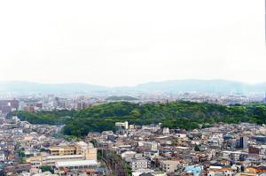 地上80メートルの堺市役所展望ロビーから見た仁徳天皇陵。森のように見える