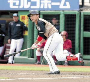 2回1死、左前安打を放つ日本ハム・王