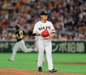7回無死、梅野に2号ソロ本塁打を被弾した2番手・田口(カメラ・泉 貫太)