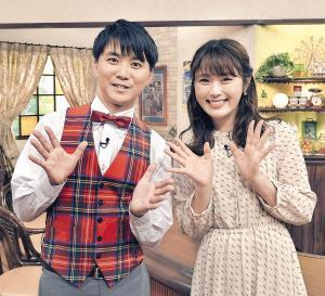 「大阪ほんわかテレビ」新レギュラーのNMB48・渋谷凪咲(右)と読売テレビ・山本隆弥アナウンサー