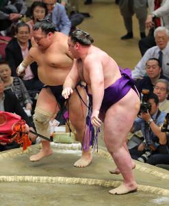 栃ノ心(手前)は粘る北勝富士を寄り切りで破り5勝目(カメラ・森田 俊弥)