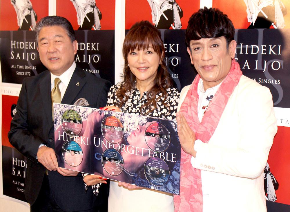 西城秀樹さんの一周忌上映会でトークショーを行った(左から)徳光和夫さん、岩崎宏美、クリス松村