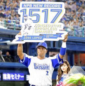 一塁手として1517連続守備機会無失策のNPB新記録を達成したロペス