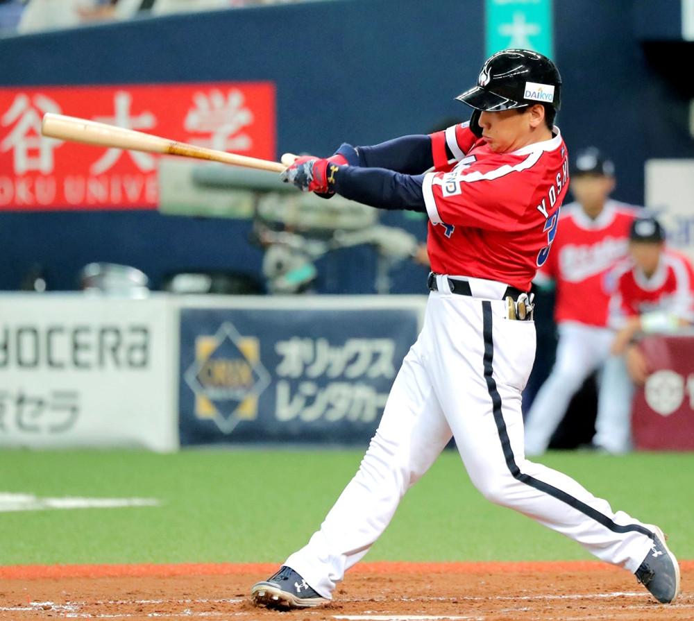 4回1死二塁、吉田正尚が右越え同点2ラン