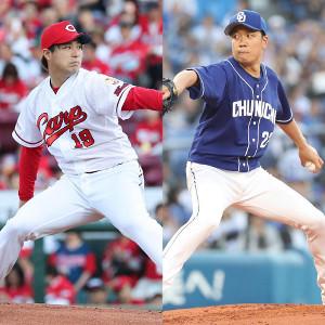 先発の広島・野村(左)と中日・大野雄