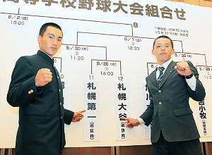 1回戦で激突する札幌第一・大平主将(左)と札幌大谷・飯田主将