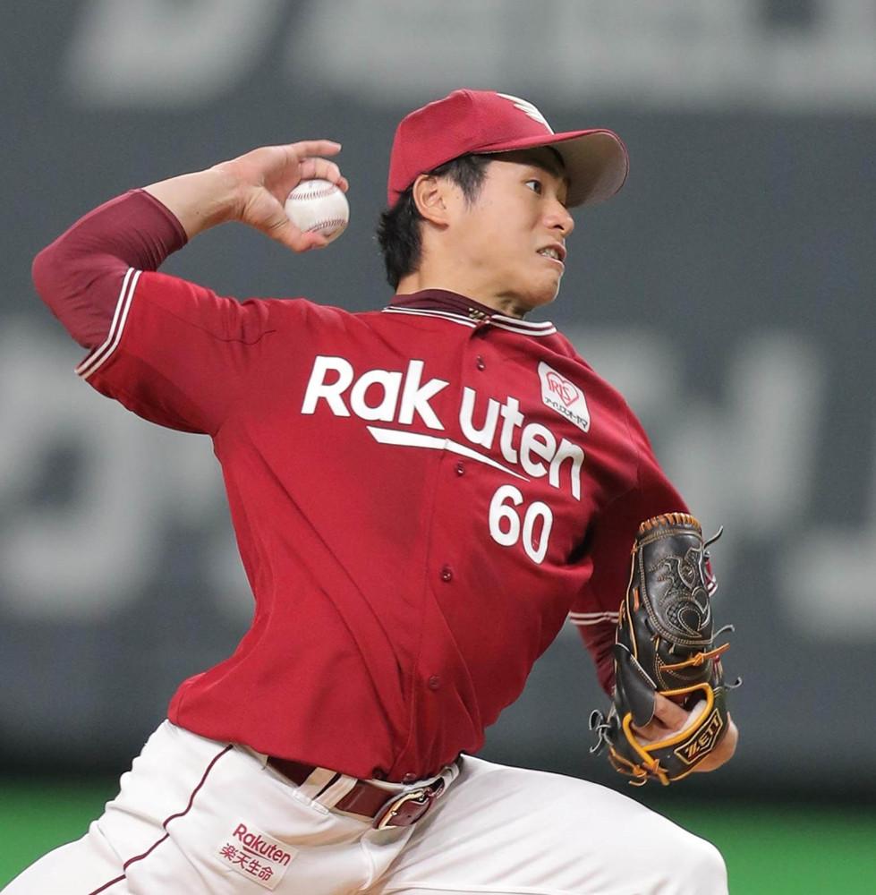 今季初勝利の権利を手にして降板した楽天先発の古川侑利(カメラ・宮崎 亮太)