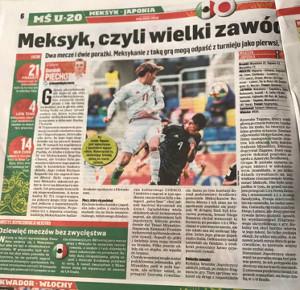 5月27日、U-20W杯でメキシコに勝利した日本の活躍を伝えるポーランド地元紙「PRZEGLAD SPORTOWY」