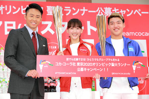 イベントに登場した(左から)北島康介氏、綾瀬はるか、堂安