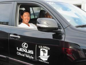 全米オープンの会場に大会オフィシャルカーで姿を見せた堀川未来夢