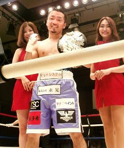 日本ミニマム級タイトルマッチで初防衛に成功した田中教仁