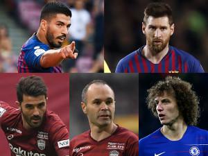 (左上から時計回りで)バルセロナのルイス・スアレス、リオネル・メッシ、チェルシーのダビド・ルイス、神戸のアンドレス・イニエスタ、ダビド・ビジャ(Getty Images)