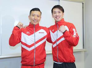 世界選手権に向けて意気込みを語った坂井丞(右)と寺内健 (カメラ・生澤 英里香)