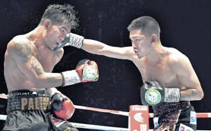 8回、パリクテ(左)に右ストレートを打ち込む井岡(カメラ・竜田 卓)