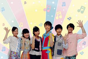 「映画 おかあさんといっしょ」に出演する(左から)秋元杏月、小野あつこ、上原りさ、小林よしひさ、花田ゆういちろう、福尾誠