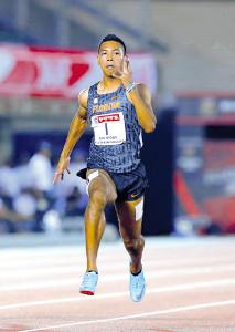 男子100メートル準決勝で10秒05のタイムで決勝進出を決めたサニブラウン・ハキーム(カメラ・石田 順平)