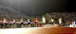 男子100メートル決勝。多田修平(左から2人目)は5位に終わった