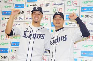 監督選抜でオールスターに初選出され意気込みを見せる高橋光成(左)と平井克典