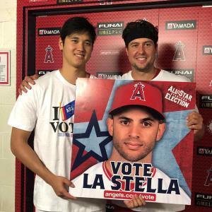 6月26日には、オールスターファン投票の投票呼びかけのPRに大谷(左)とともに参加していたスカッグス(Angels Baseball提供)