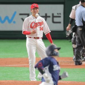 2回2死一塁、森友哉に右翼席へ2ラン本塁打を打たれた大瀬良大地(カメラ・生澤 英里香)