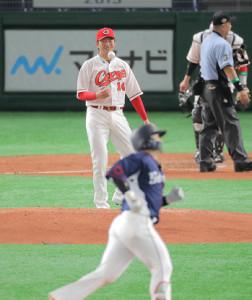 2回2死一塁、森に右翼席へ2ラン本塁打を打たれた大瀬良