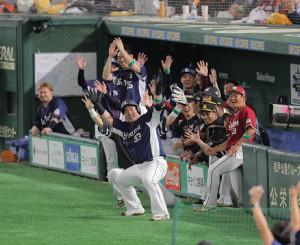 6回2死、山川穂高が左越えソロ本塁打を放ち「どすこい」のパフォーマンス(カメラ・相川 和寛)