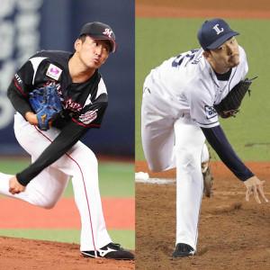 ロッテ・小島(左)と西武・本田