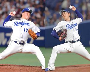 中日・柳(左)と笠原