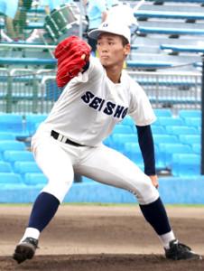 自己最速146キロをマークして3安打10奪三振で完投した静岡商の高田琢登