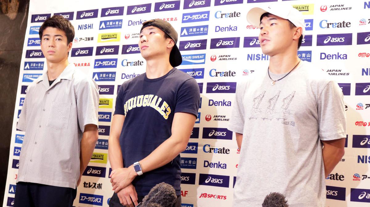 ダイヤモンドリーグ・ロンドン大会から帰国した(左から)多田修平、桐生祥秀、小池祐貴