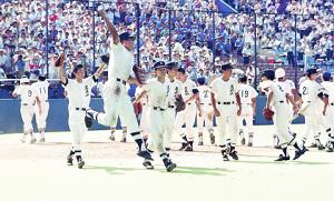 91年7月、西東京大会で10年ぶりに優勝した国学院久我山ナイン