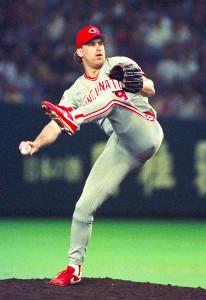 90年日米野球で登板したロブ・ディブル(シンシナティ・レッズ)